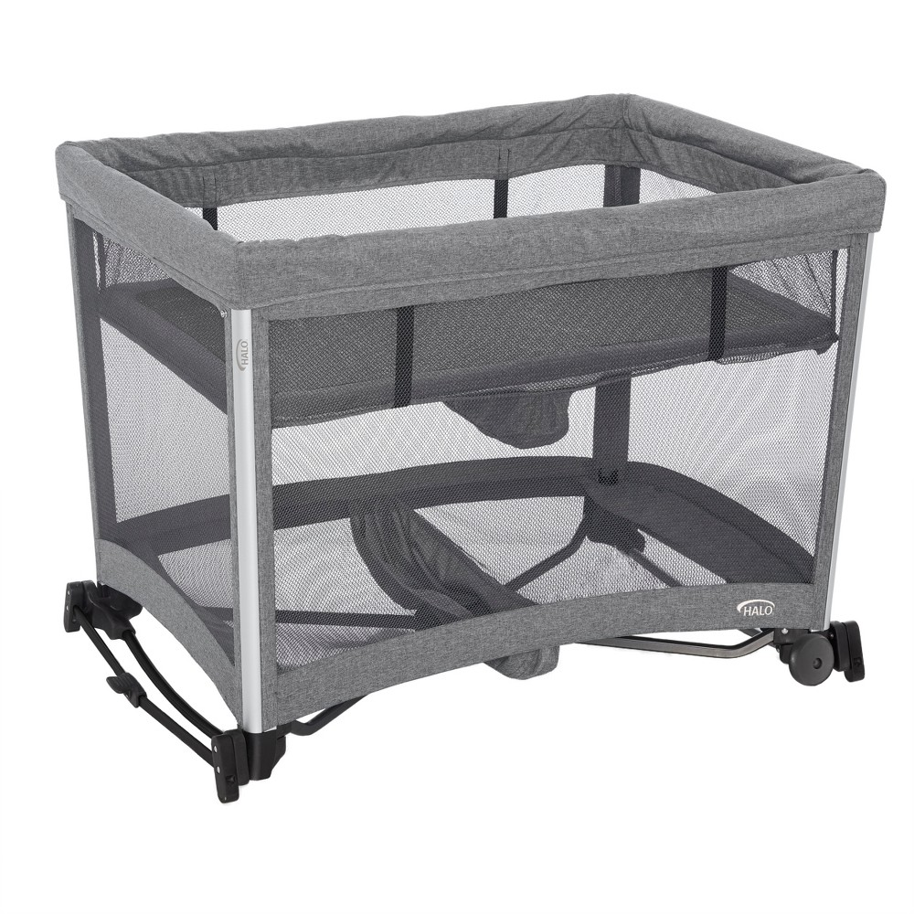 Image of Halo 3-in-1 DreamNest Rocking Bassinet, Portable Crib, Travel Cot with Breathable Mesh Mattress, Gray