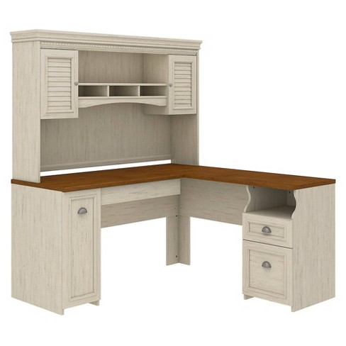 Bush Furniture Fairview L Shaped Desk With Hutch In Antique White - image 1 of 4