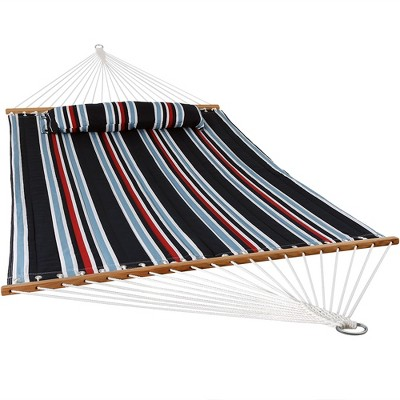 Sunnydaze Heavy Duty 450-Pound Capacity Quilted Fabric Hammock Two-Person with Spreader Bars - Nautical Stripe