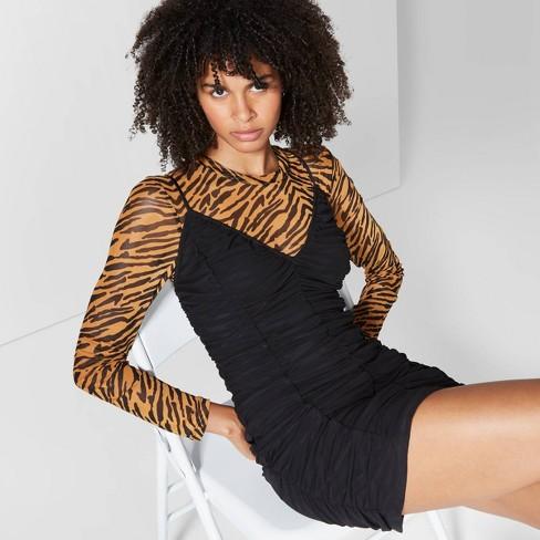 Women's Sleeveless V-Neck Ruched Mesh Bodycon Mini Dress - Wild Fable™ Black  - image 1 of 3