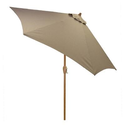 9' Round Umbrella - Taupe - Wood Pole - Threshold™