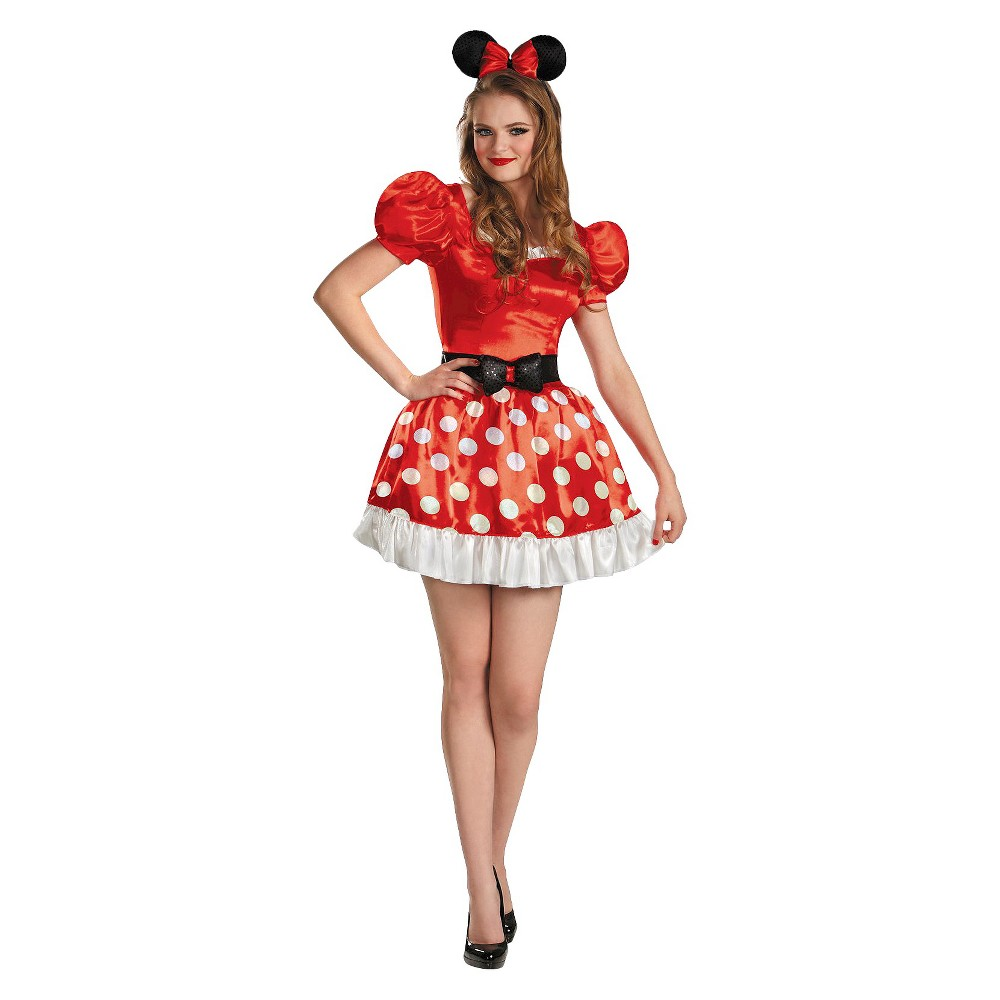 Image of Halloween Minnie Mouse Women's Classic Costume - Large, Black/Red/White