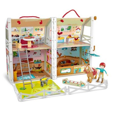 Hape HAP-E3409 Pony Ranch Barn Stable Club Playset Doll House with 2 Levels and Easy Carry Handle for Kids Ages 3 Years and Up