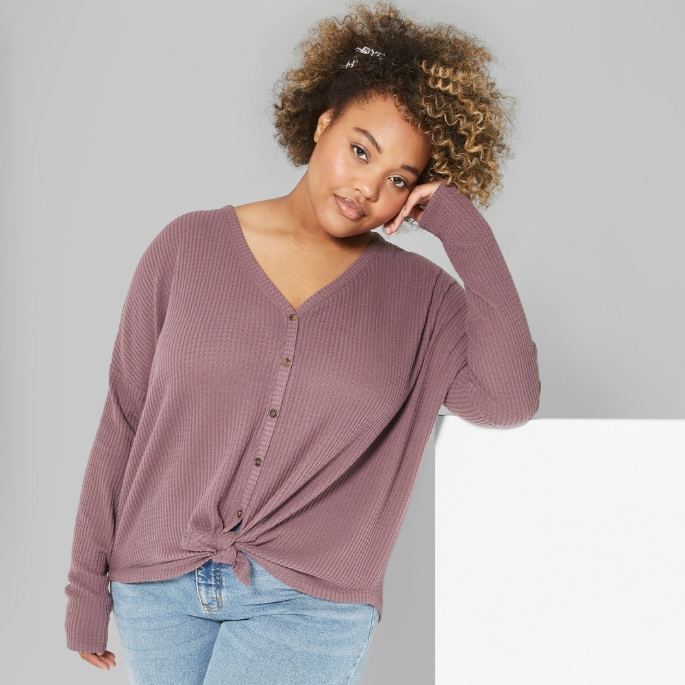 Women's Plus Size Striped Long Sleeve Oversize Thermal Tie Front Top - Wild Fable Plum 3X, Purple