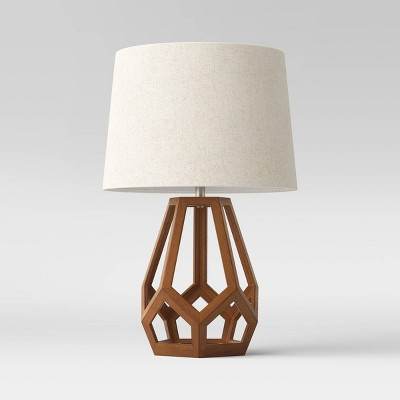 Large Wood Geo Assembled Table Lamp (Includes LED Light Bulb)Brown - Threshold™
