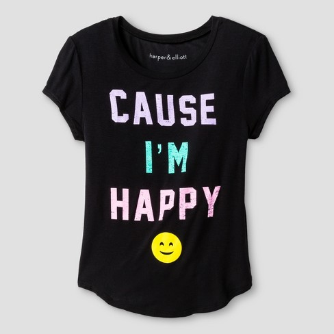 Girls' Cause I'm Happy Short Sleeve Graphic T-Shirt - Black - image 1 of 1