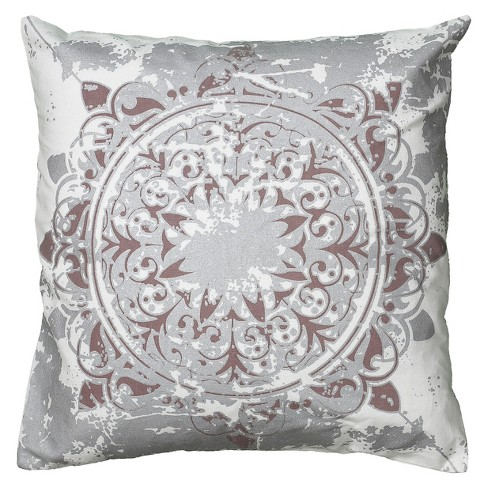 Whitesilver White Printed Metallic Pattern Throw Pillow 20x20