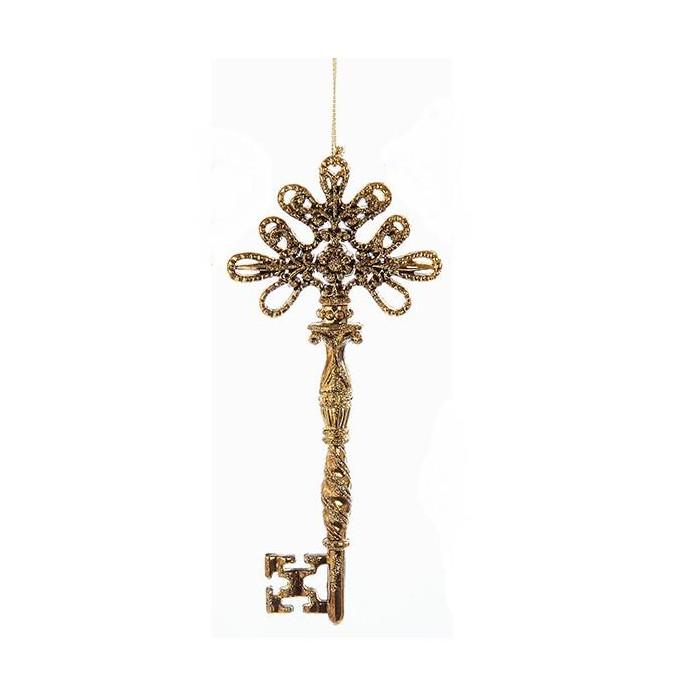 "Kurt S. Adler 6.25"" Flower Pattern Key with Iridescent Glitter Christmas Ornament - Gold - image 1 of 1"