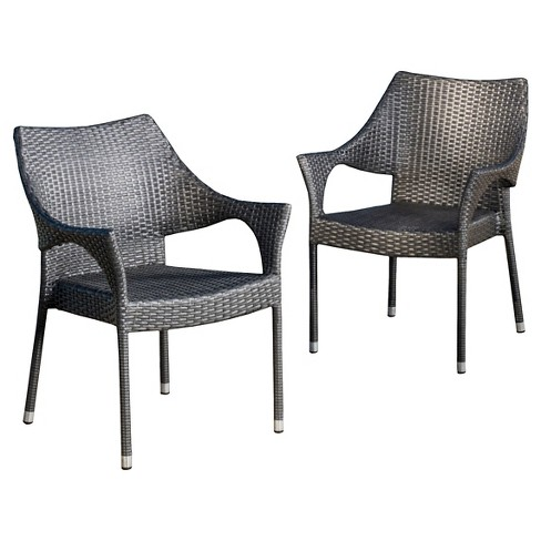 Cliff Set Of 2 Wicker Patio Chairs, Gray Wicker Patio Furniture