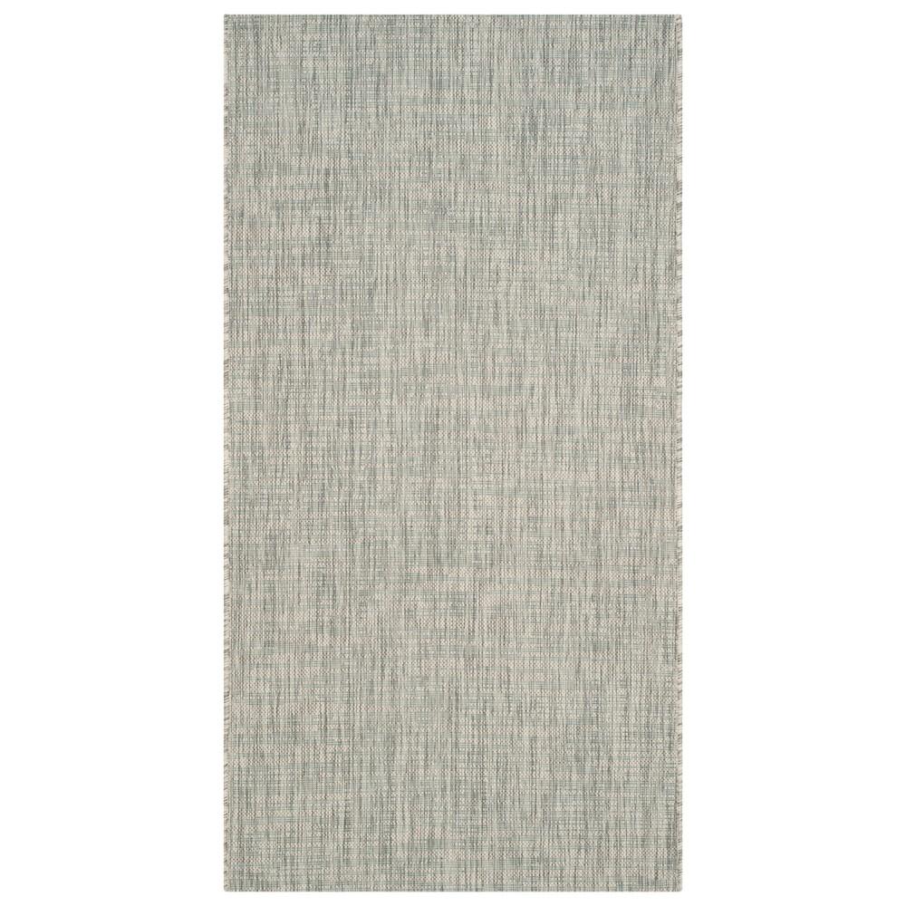 Jenkin Rectangle 2'7 X 5' Outdoor Patio Rug - Gray / Turquoise - Safavieh