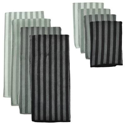 4pk Polyester Striped Microfiber Towel Gray - Design Imports