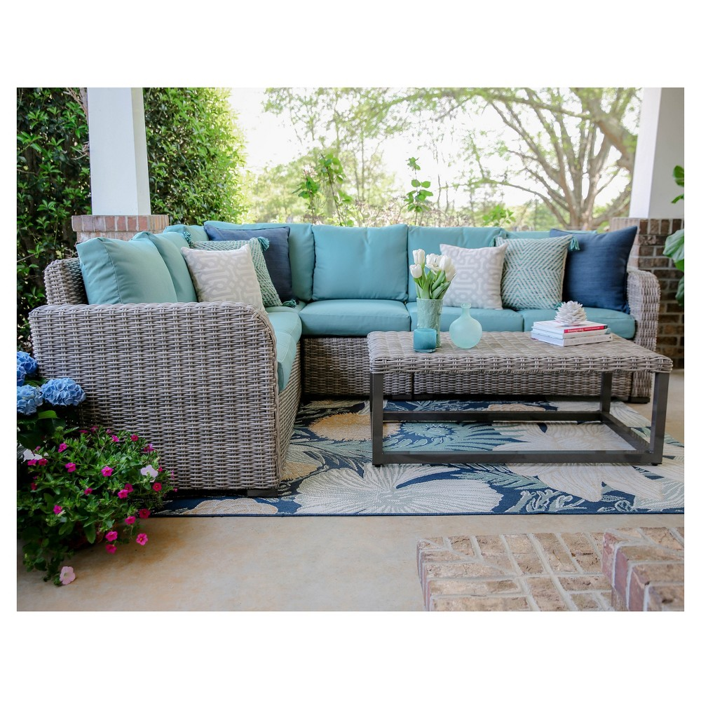 Forsyth 5pc Wicker Corner Patio Sectional - Blue - Leisure Made