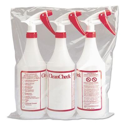 Boardwalk Trigger Spray Bottle 32 oz Clear/Red HDPE 3/Pack 03010