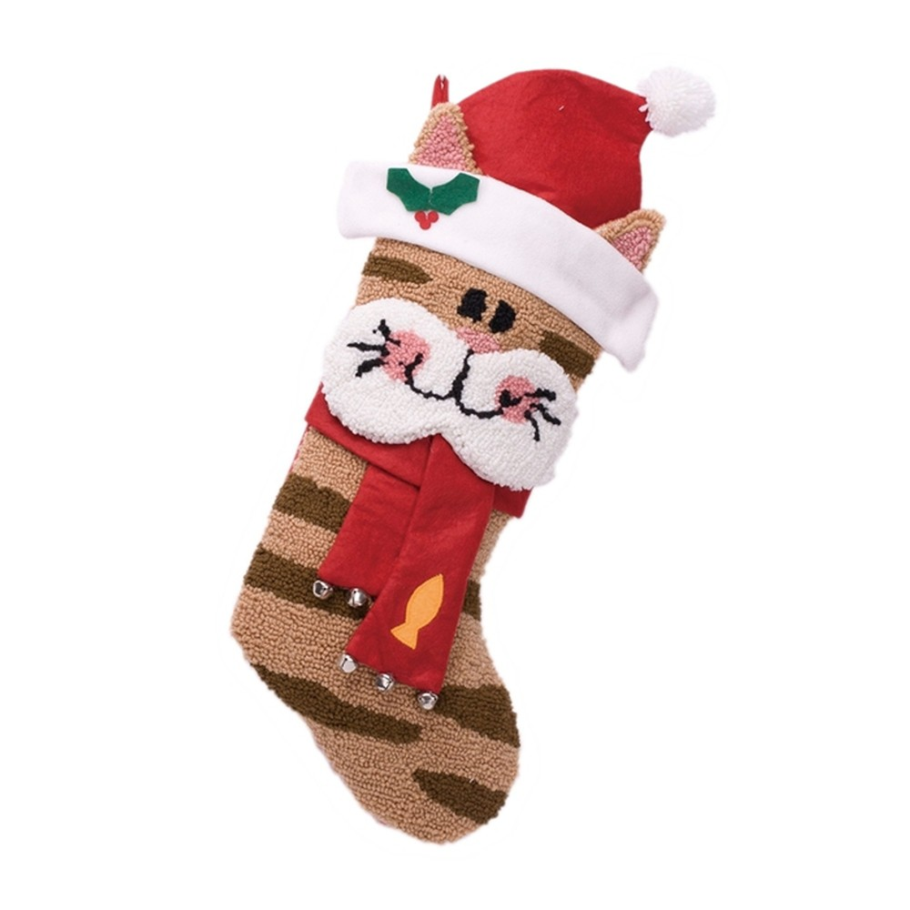 Image of 3D Cat Hooked Christmas Stocking - Glitzhome