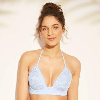 Women's Tropics Lightly Lined Crochet Triangle Bikini Top - Shade & Shore™ Pale Blue 36C
