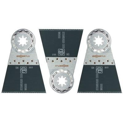Fein 63502134270 E Cut Standard Wood, Drywall, & Plastic Oscillating Multitool Starlock 2 x 2.5 Inch Saw Blade Tool Set (3 Pack)