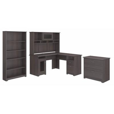 Bush Furniture L Shaped Desk w/Hutch Lateral File Cabinet & 5 Shelf Bookcase Gray CAB010HRG