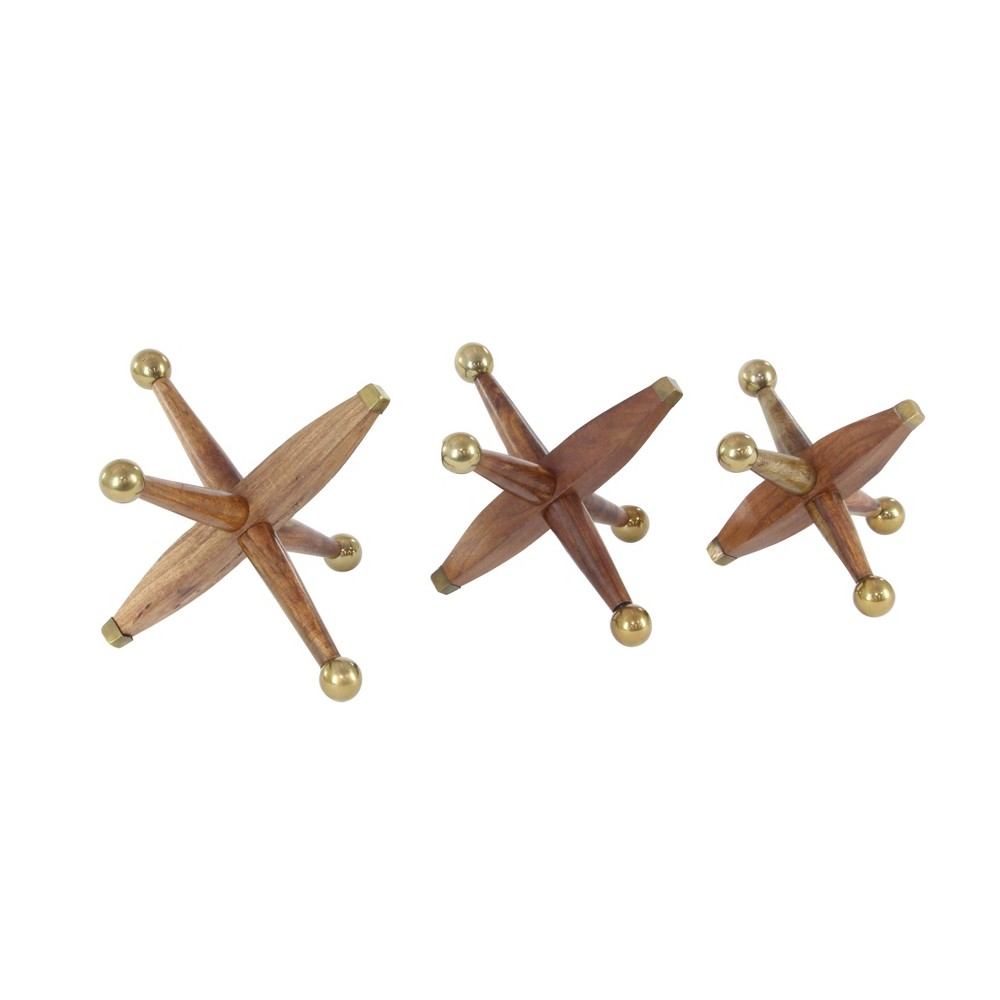 Decorative Sculpture Set of 3 - Brown/Gold - Olivia & May