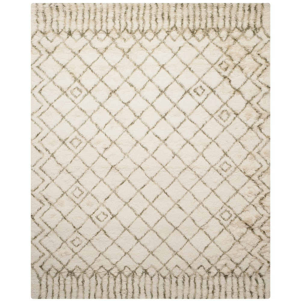 Geometric Tufted Area Rug Ivory/Green