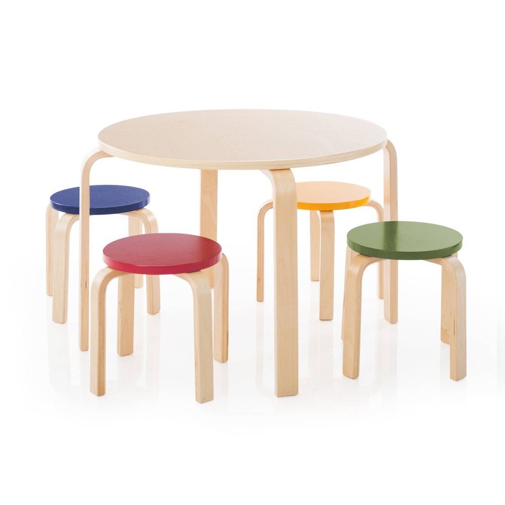 Image of 5 Piece Kids Table and Stools Set - Primary - Guidecraft, Natural/Primary