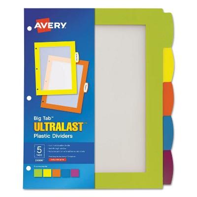 Avery Big Tab Ultralast Plastic Dividers Multicolor 5-Tab 8 1/2 x 11 24900