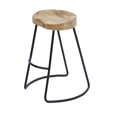 Wooden Saddle Seat Barstool Brown and Black - The Urban Port
