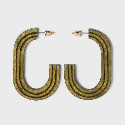 Grooved Open Oval Wood Hoop Earrings - Universal Thread™