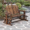 Gardenised Pinewood Outdoor Cabin Log Glider Swing with Side Tables, Brown   - image 3 of 4