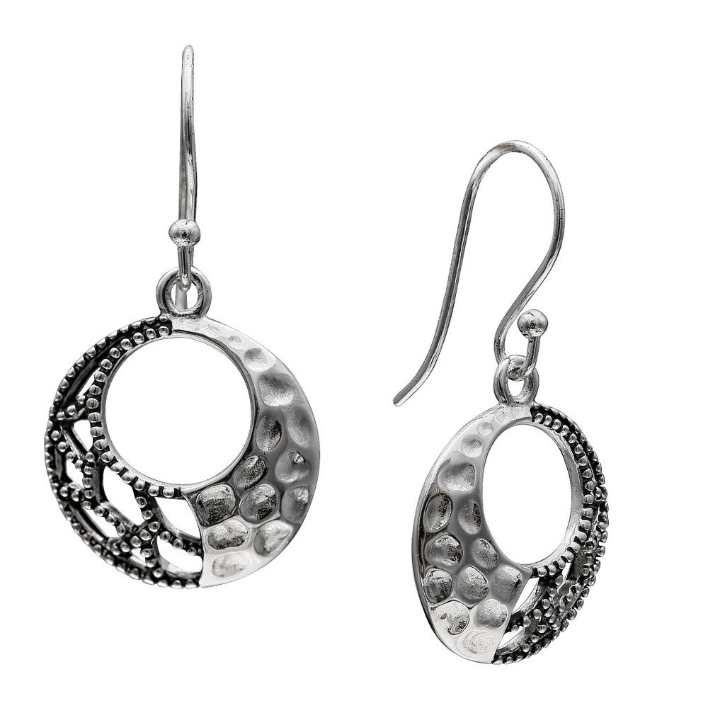 Women's Oxidized and Hammered Drop Circle Earrings in Sterling Silver - Silver (28mm)