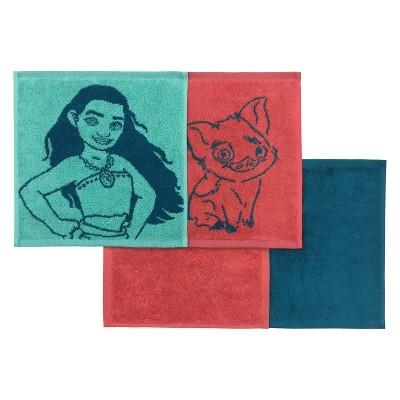 Disney Moana Washcloth Set Blue/Red