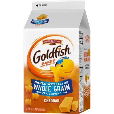 Pepperidge Farm Goldfish Baked with Whole Grain Cheddar Crackers - 30oz Carton