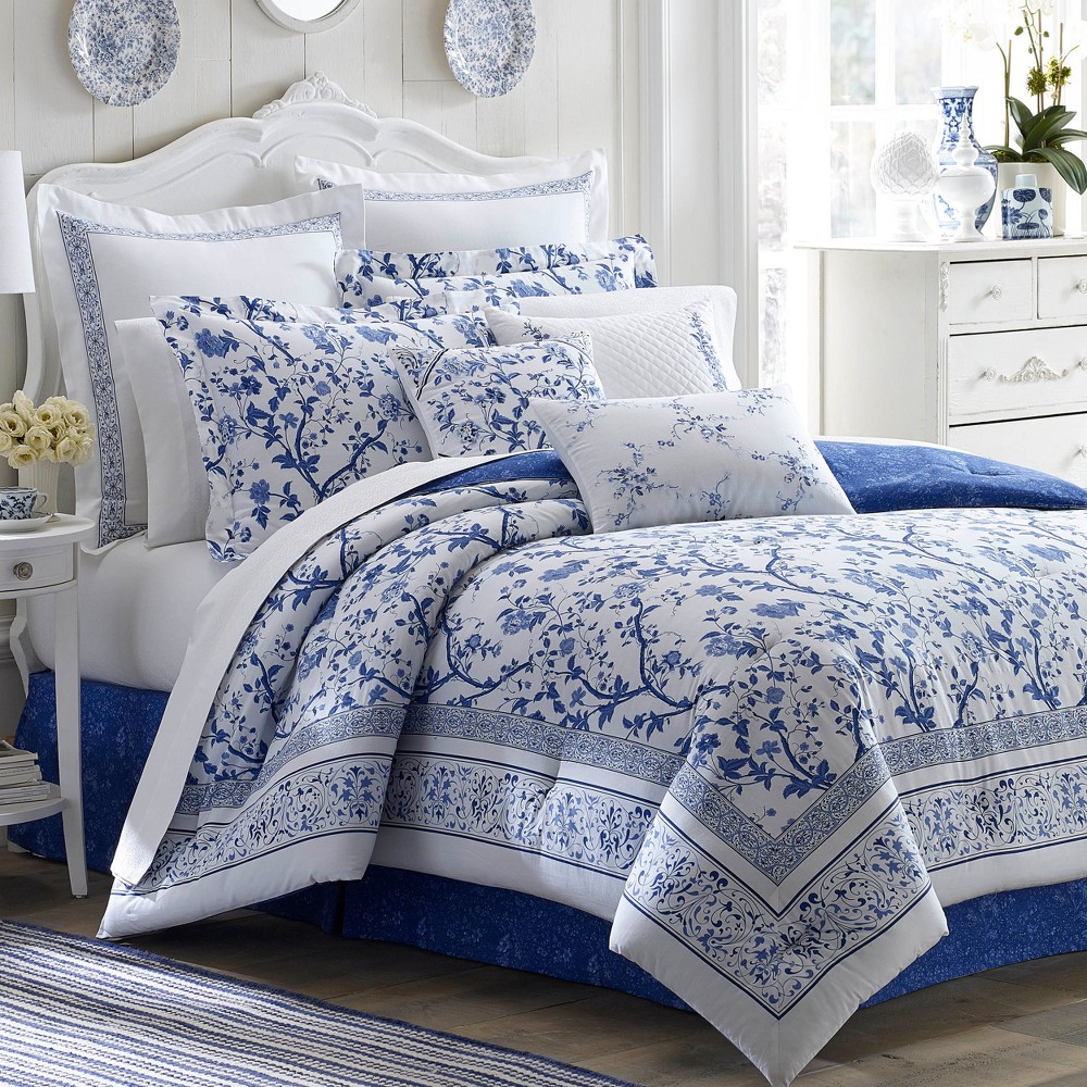 Image of Blue Charlotte China Comforter Set (Twin) - Laura Ashley