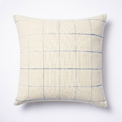 Windowpane Throw Pillow Cream/Blue - Threshold™ designed with Studio McGee