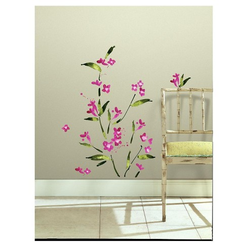 RoomMates Fuchsia Flower Arrangement Peel and Stick Wall Decals - image 1 of 2