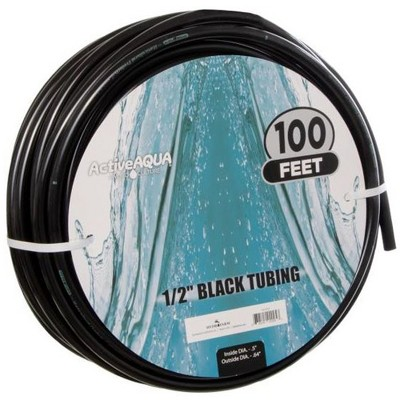 Active Aqua 0.5 Inch Inside Diameter Black Vinyl Tubing for Indoor Vegetation Growing Hydroponic Irrigation Systems and Tanks, 100 Feet