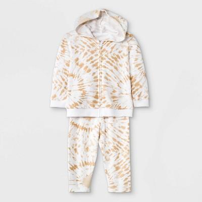 Grayson Mini Baby Boys' Tie-Dye Hoodie Top & Bottom Set - Brown Newborn
