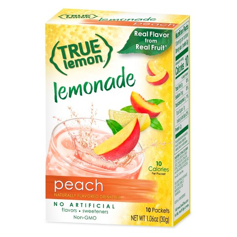 True Lemon Peach Lemonade Drink Mix 10pk 1 06oz Target