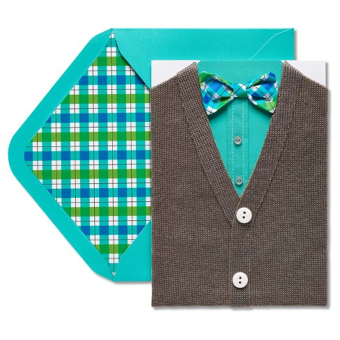 Papyrus Cardigan and Bowtie Birthday Card - image 1 of 4