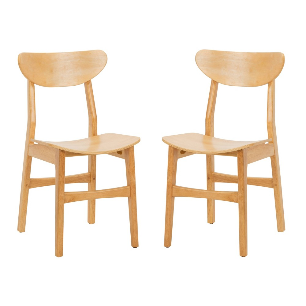 Set Of 2 Lucca Retro Dining Chair Natural Safavieh