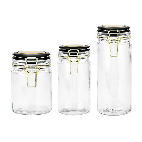 Amici Home 26-40 & 50 oz Set of 3 Aria Glass Storage Canisters Clear with Black Lid - image 1 of 4