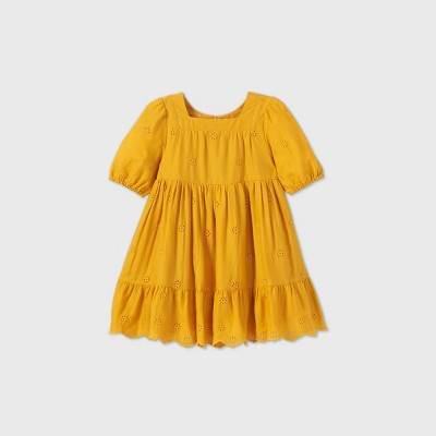 Toddler Girls' Floral Eyelet Woven Long Sleeve Dress - Cat & Jack™ Gold 12M