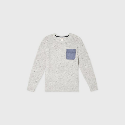 Boys' Crew Neck Sweater with Utility Pocket - Cat & Jack™ Gray - image 1 of 2