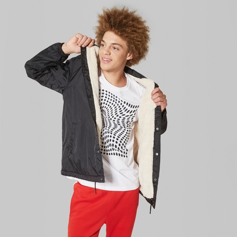 bf821ce7d Men's Long Sleeve Sherpa Lined Coach Jacket - Original Use™ Black M