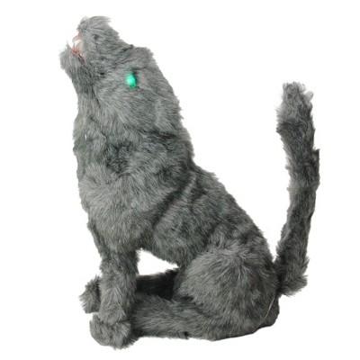 "Northlight 22"" Prelit Eyed Howling Wolf Halloween Decoration - Gray/Green"