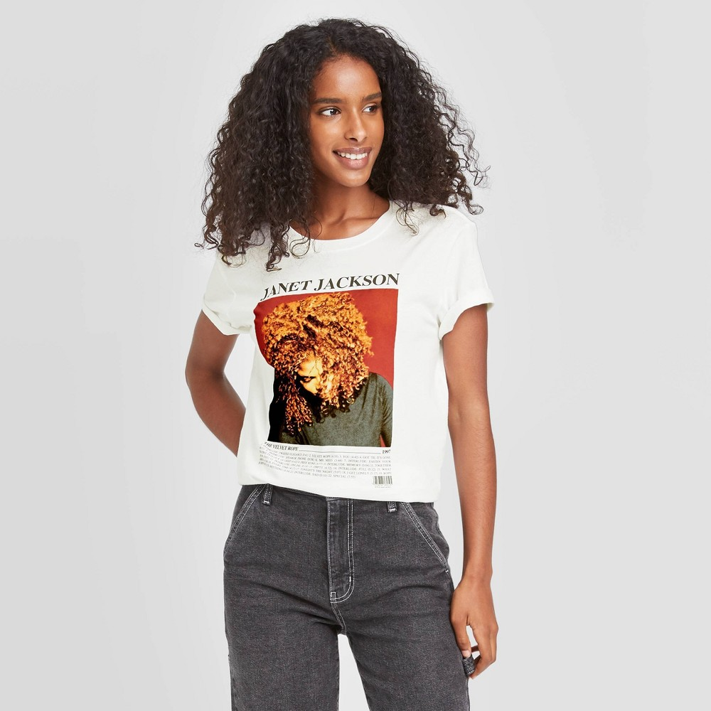 Women 39 S Janet Jackson Short Sleeve Graphic T Shirt White Xs