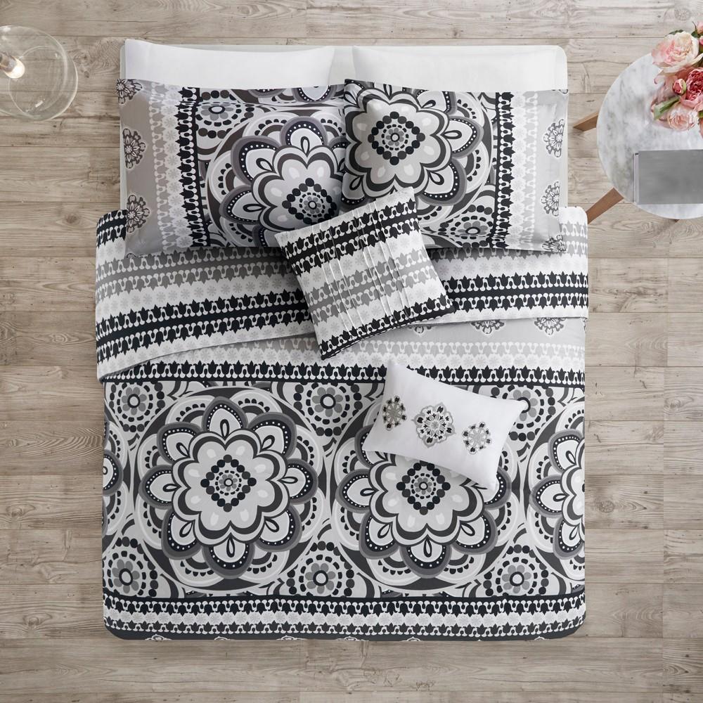 5pc Full/Queen Patsy Reversible Print Duvet Set Charcoal (Grey)