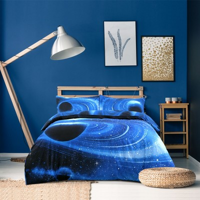 4 Pcs Twin Polyester Galaxy Sky Cosmos Night Bedding Sets Twin Blue - PiccoCasa