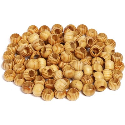 100 Pieces Natural Wooden Spacer Beads 20mm Diameter Unfinished Wood Beads for DIY Craft Projects and Jewelry Making