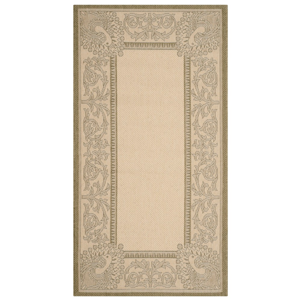 Bradford Rectangle 2' X 3'7 Outdoor Patio Rug - Natural / Olive - Safavieh, Green