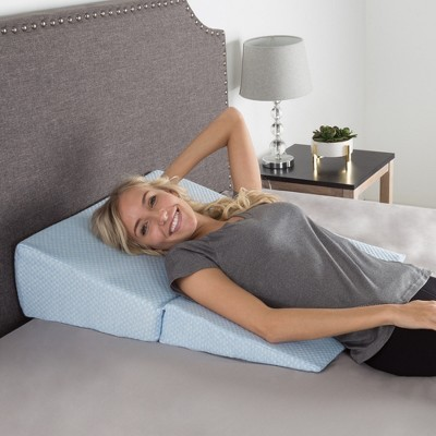 Hastings Home Folding Ergonomic Memory Wedge Foam Pillow - Blue